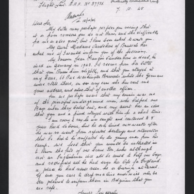 Letter to Roy Langlois from Joseph Black